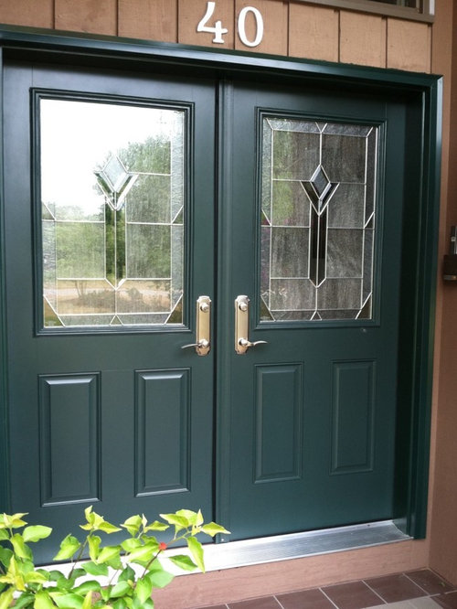 Pella fiberglass double entry door hunter green for Fiberglass double doors exterior