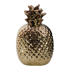 Ceramic Pineapple Canister, Copper