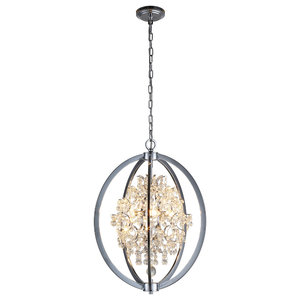 OVE Decors Pena Chrome Finish LED Integrated Chandelier
