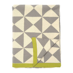 Wind Farm Cotton Throw Blanket, Grey and Chartreuse