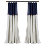 "Triangle Home Fashions - Linen Button Single Window Panel, Navy/White, 95""x40"" - Add the elegance of linen to your home with these farmhouse chic curtains. Color blocking is always in style and we love the details of pleats and buttons. Slight weave variations are authentic to this natural fiber blend and create a one-of-a-kind look.1 Window Panel: 95""H x 40""W"