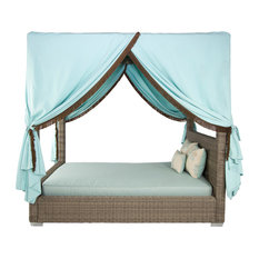 Palisades Outdoor Canopy Bed With Cushion, Gray, Queen, Taupe