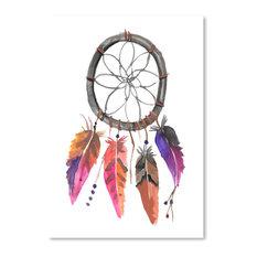 """Pink Watercolor Dream Catcher,"" Art Print, 11""x14""x0.1"""