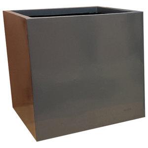 Glossy Grey Cube Fibreglass Planter, 60x60x60 cm