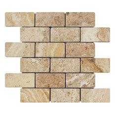 Travertine Valencia Brick Mosaic, 2x4, Tumbled Mosaic Tiles, 10 Sqft