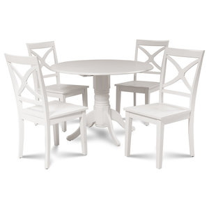 8b047e491955 Burlington Dinette Dining Set With Wooden Seat Chairs in White, 5 Piece Set