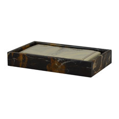 Mytus Collection Guest Towel Tray, Black and Brown