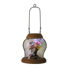 """LED Lighted Solar Powered Outdoor Garden Lantern With Flowers, 7"""""""