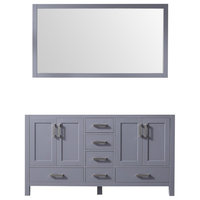 """Jacques 60"""" Double Vanity Base With 58"""" Mirror, Dark Gray"""