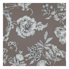 Grenades Floral Print Upholstery Fabric, Taupe