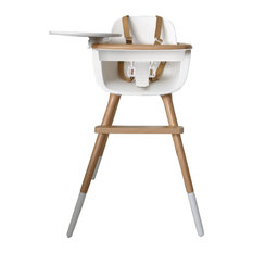 Ovo Max Luxe High Chair, White and Natural Wood With PU Leather Harness