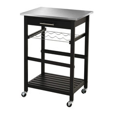 Modern Kitchen Cart Pine Wood With Slatted Bottom And Stainless Steel Top