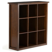"""Artisan Solid Wood 45"""" x 43"""" 9 Cube Bookcase and Storage Unit, Medium Brown"""