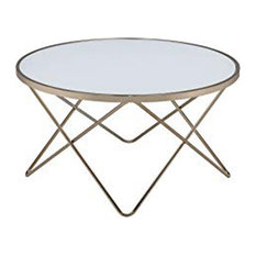 Contemporary Style Round Glass And Metal Coffee Table White And Gold