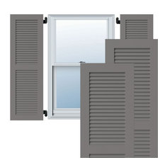 """12"""" x 25"""" Exterior Composite Louvered Shutters, Primed"""