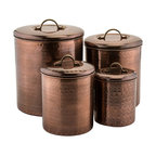 4-Piece Hammered Copper Canisters