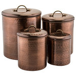 Old Dutch International - 4-Piece Hammered Copper Canisters - Decorate your kitchen with our Hammered Antique Copper Canister Set. With their vintage hammered finish and generous capacity, these Copper Plated Stainless Steel canisters are an attractive and practical countertop storage solution.