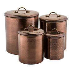 Old Dutch International Hammered Copper Canisters 4 Piece Set Kitchen And