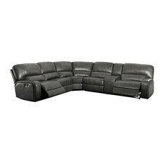 Acme Furniture Saul Reclining Sectional Sofa Gray Leather Aire
