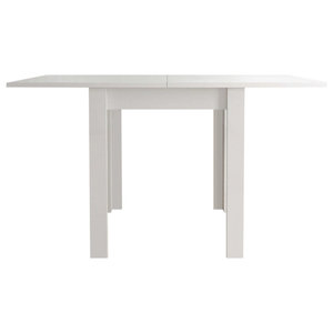 Modern Dining Table, High Gloss Finished Wood, Flip Top Design, White