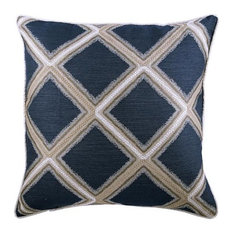 "Blue Decorative Pillow Cover, Blue Check 20""x20"" Silk, Reality Check"