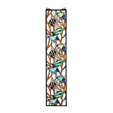 Meyda Tiffany 50840 Tropical Fish Tiffany Stained Glass Window Pane