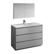 Lazzaro 48-inch Gray Free Standing Vanity Set Versa Faucet/Brushed Nickel