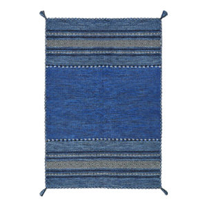 Kelim Blue Rectangle Modern Rug 160x230cm