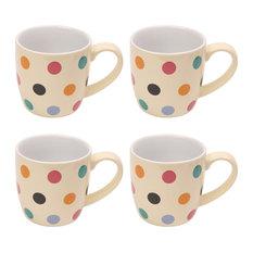 London Pottery Set of 4 Spot Mugs, Multi