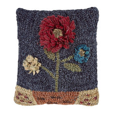 "Home Spice Moon Flower Hooked Wool Pillow, Square, 12""x12"""
