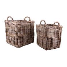 Square Rattan Baskets, 2-Piece Set