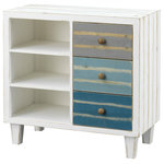 Coast to Coast - Coast to Coast Three Drawer Cabinet - Delightfully distressed in our Tide Pool Multi Color finish, this Cabinet is the ideal addition for your kitchen, sunroom or seaside retreat.  Three spacious open shelves are perfect for rolled towels, books or games, and three colorful drawers provide plenty of additional storage.