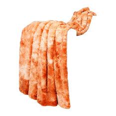 """Tie Dye Double Sided Faux Fur Throws, Orange, 50"""" X 60"""""""