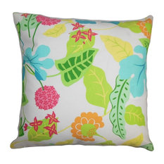 "Gamila Floral Outdoor Pillow Green 18""x18"""