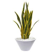 Sansevieria Artificial Plant, White Bowl