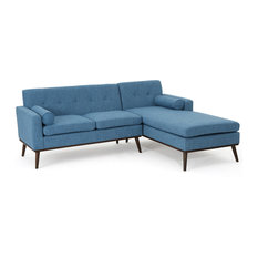 GDFStudio   Sophia Mid Century Modern 2 Piece Fabric Sectional Sofa, Muted  Blue