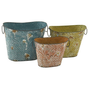 Troubadour Metal Planters, Set of 3