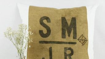 Oreiller en vieux sac de grain