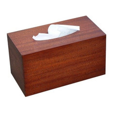Tissue Box Cover in Antique Mahogany Wood, Family Rectangular Size