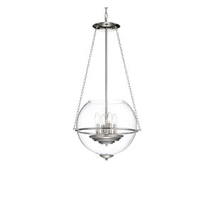 4-Light Polished Nickel Chandelier with 15 in Clear Glass Globe Contemporary