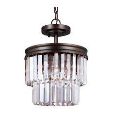 2-Light Semi-Flush Convertible Pendant
