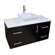 """Modern Contemporary Bathroom Vanity *WALL MOUNT*, Espresso, 42"""""""