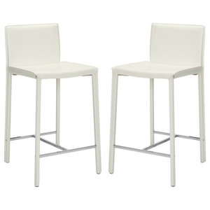 Contemporary Extra Tall Barstool in White - Set of 2