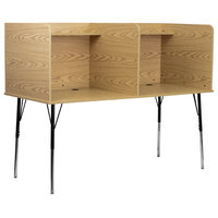 MFO Double Wide Study Carrel with Adjustable Legs and Top Shelf in Oak Finish