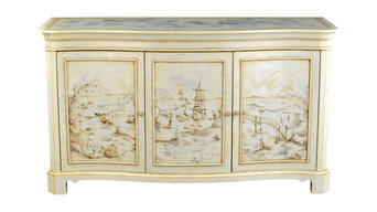 Silver Leaf Chinoiserie Cabinet