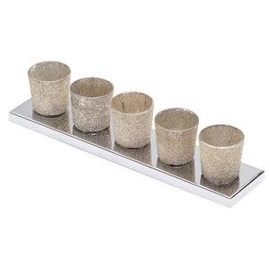 5-Light Ceramic Cup Table Lamp Bar, Gold