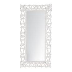 """Como White Carved Mirror 22.5X58"""", White, 18""""x36"""""""