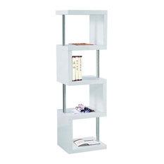 Modern 4-Shelf Bookcase, White