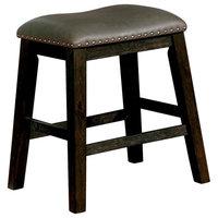 Rustic Solid Wood Barstool, Nail Head Trim Design, Brown/Gray, Pack of 2