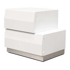 Spain Modern White 2-Drawer Bedroom Nightstand